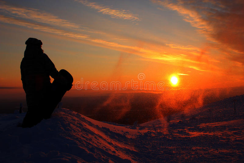 Pyhätunturi snowboarding royalty free stock photos