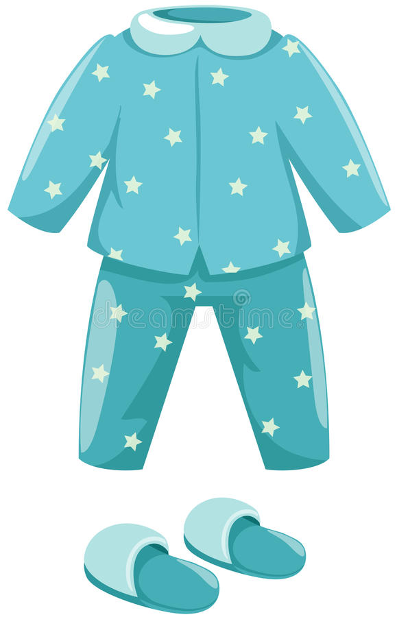 Pyjama's met pantoffel royalty-vrije illustratie