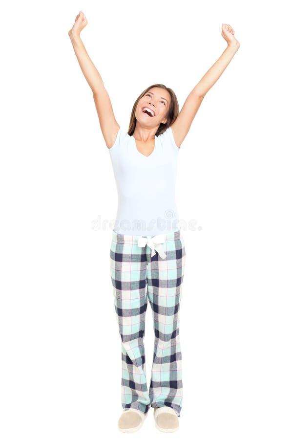 Pyjamafrauenausdehnen getrennt lizenzfreie stockfotografie