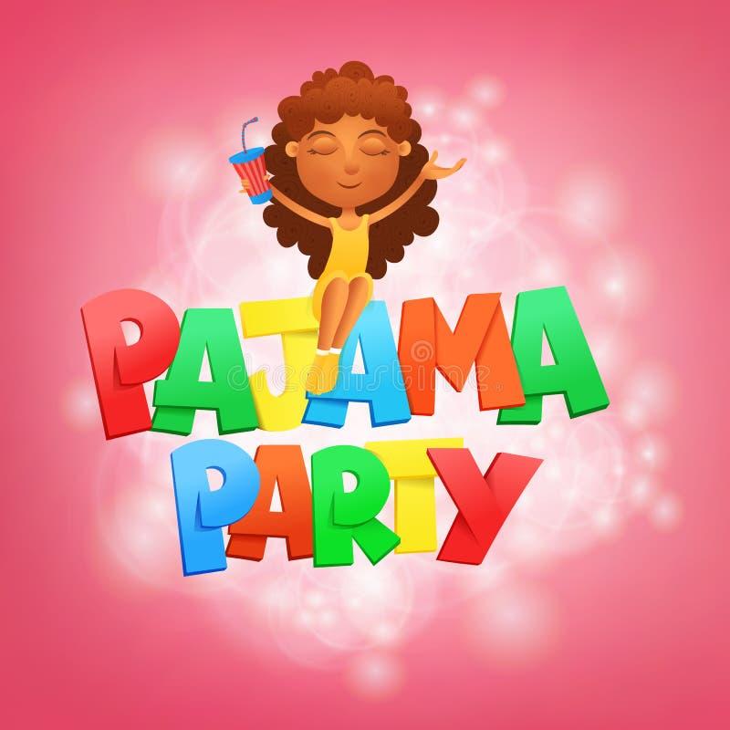 Pyjamapartij het van letters voorzien Het malplaatje van de uitnodigingskaart met zittingsmeisje vector illustratie