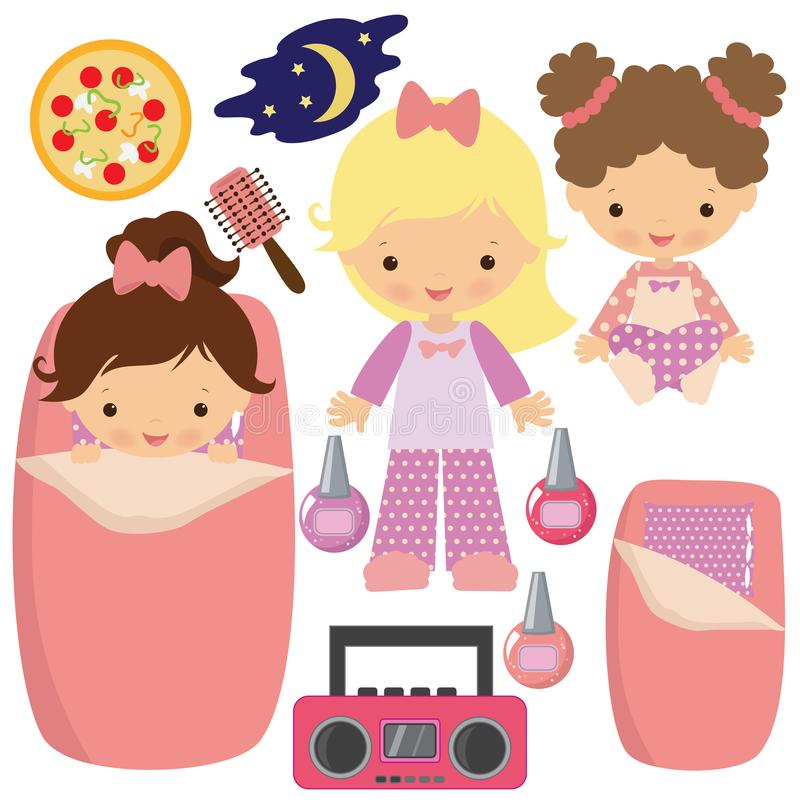 Pyjamapartyvektor-Karikaturillustration stockfotografie