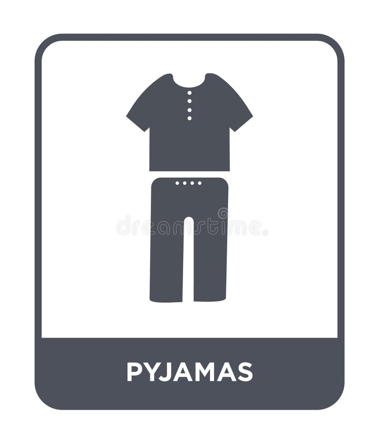 pyjamapictogram in in ontwerpstijl pyjamapictogram dat op witte achtergrond wordt geïsoleerd eenvoudige en moderne vlakke symbool stock illustratie