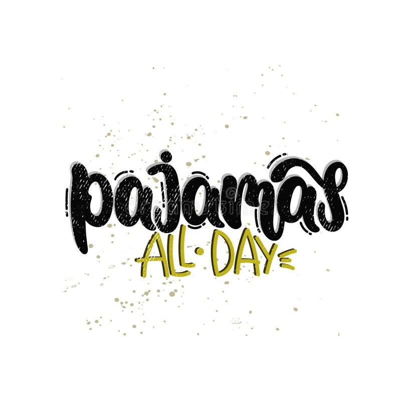 Pyjamas hela dagen stock illustrationer