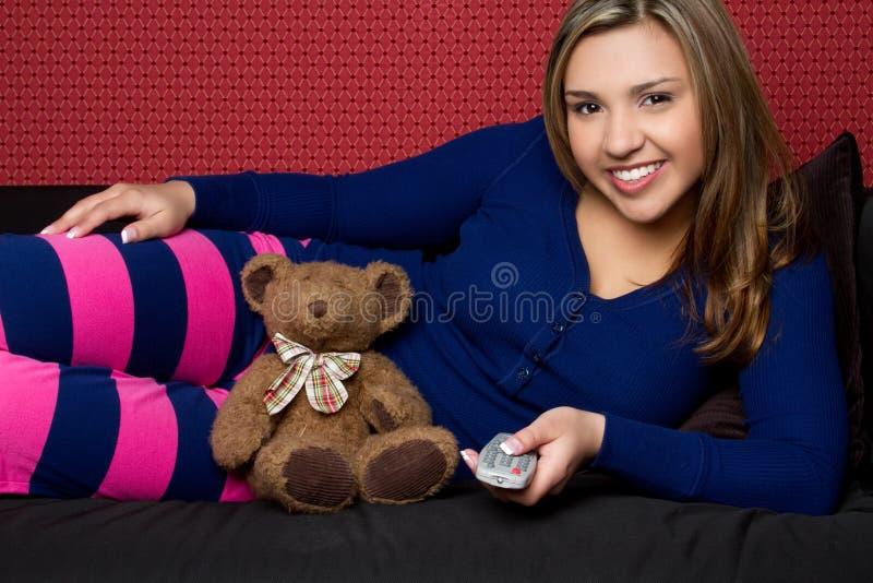 Pyjamas s'usants de fille photographie stock libre de droits