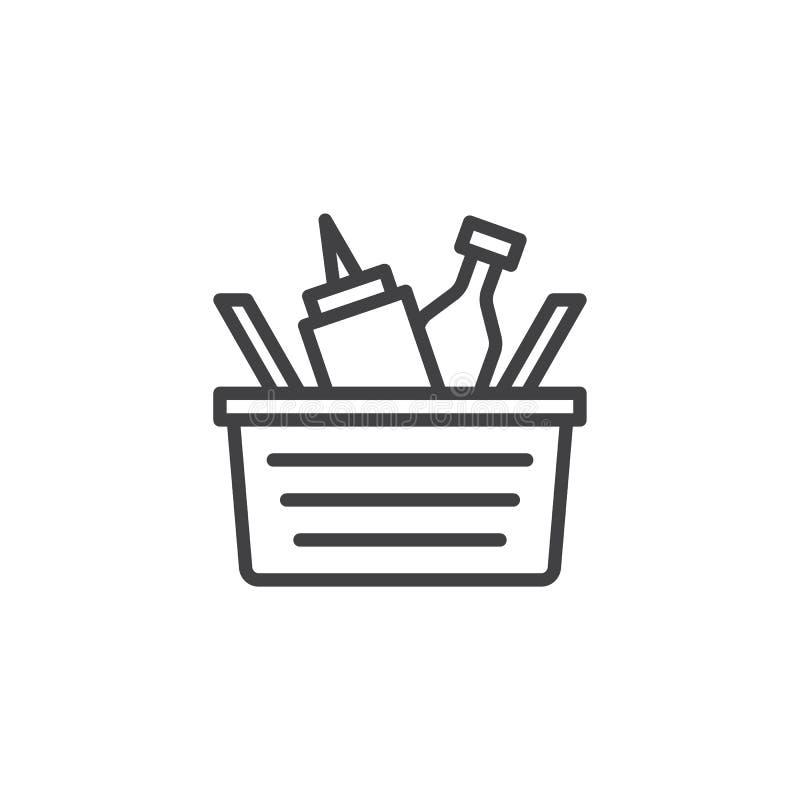 Pykniczna kosz linii ikona ilustracja wektor