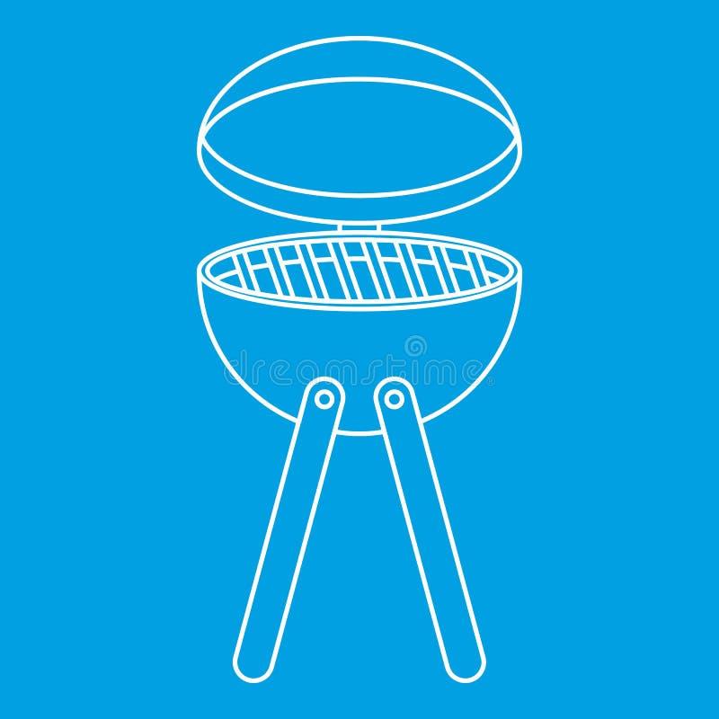 Pykniczna kulinarna grilla przyrządu ikona, konturu styl royalty ilustracja