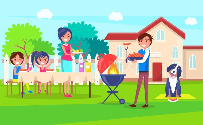 Pykniczna Rodzinna Relaksująca Domowa Wektorowa ilustracja ilustracji