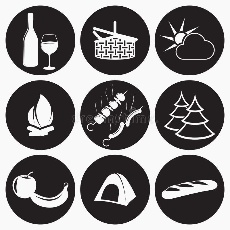 Pykniczne ikony ustawiać ilustracja wektor
