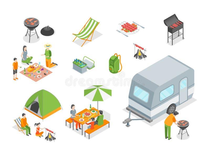 Pykniczny grill Podpisuje 3d ikony Ustalonego Isometric widok wektor ilustracja wektor