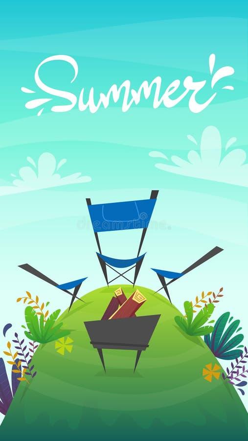 Pykniczny grill przy parkowym lasu odpoczynku campingiem przy jeziorem lub morzem dziki turystyka weekend przy zielonej trawy drz ilustracja wektor
