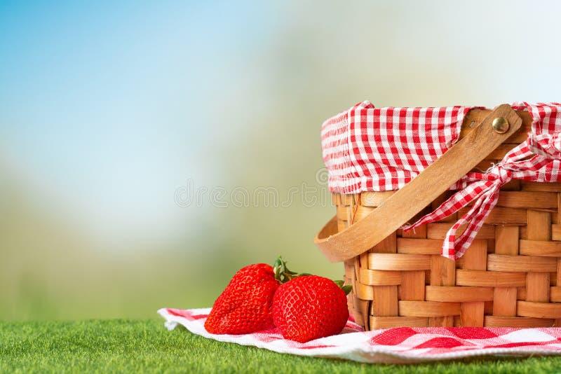 Pykniczny kosz na drewnianym stole z tablecloth i truskawkami relaksuj?cy na pinkinie, i przyjemny w naturze, z przestrzeni? zdjęcia stock