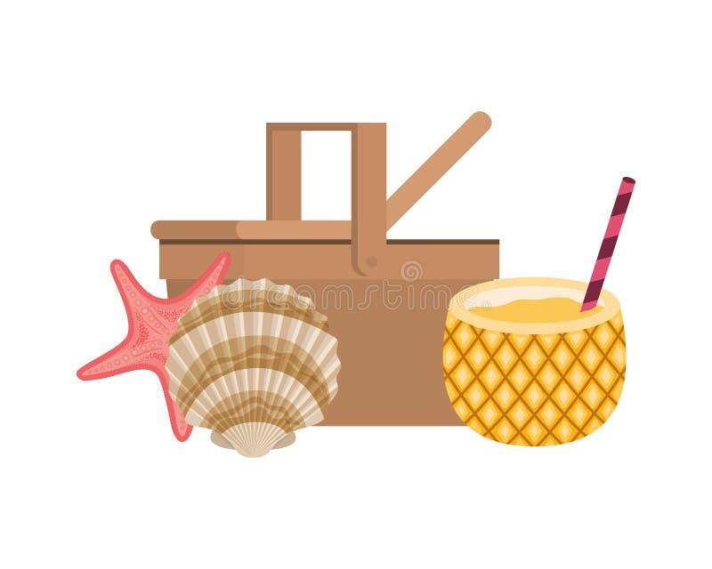 Pykniczny kosz z ananasowym koktajlem na białym tle ilustracji