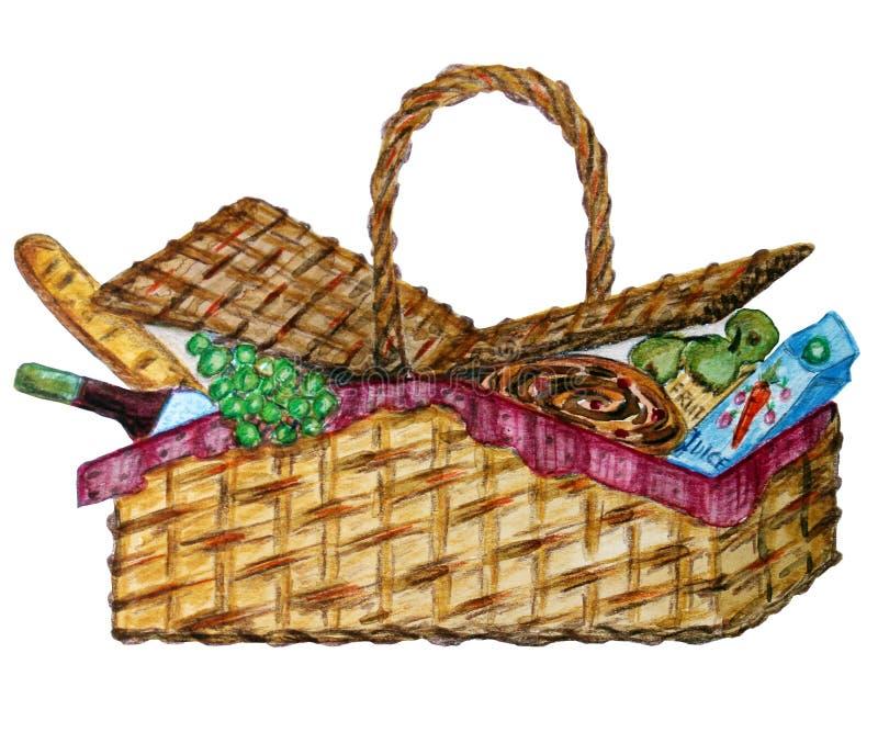 Pykniczny kosz z jedzeniem, winem i przekąską, ilustracji