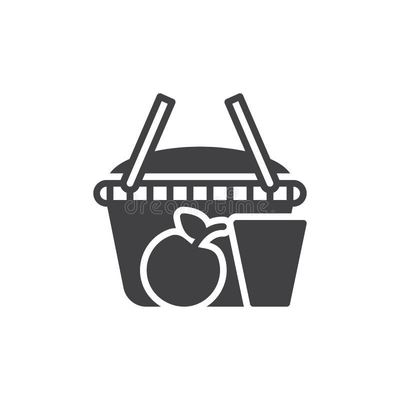 Pykniczny koszykowy ikona wektor, wypełniający mieszkanie znak ilustracja wektor