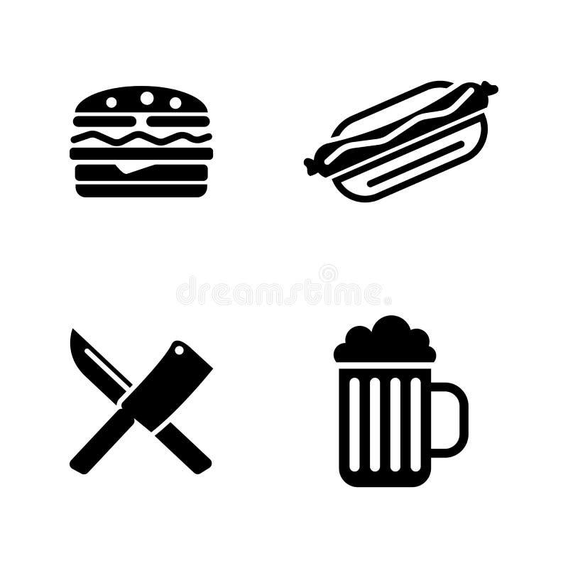 Pykniczny kucharstwo Proste Powiązane Wektorowe ikony ilustracji