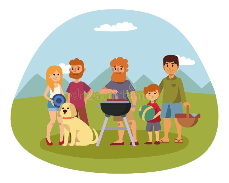 Pykniczny położenie z świeżej żywności koszałki koszykowego grilla pary i lato posiłku przyjęcia odpoczynkowymi rodzinnymi ludźmi ilustracji