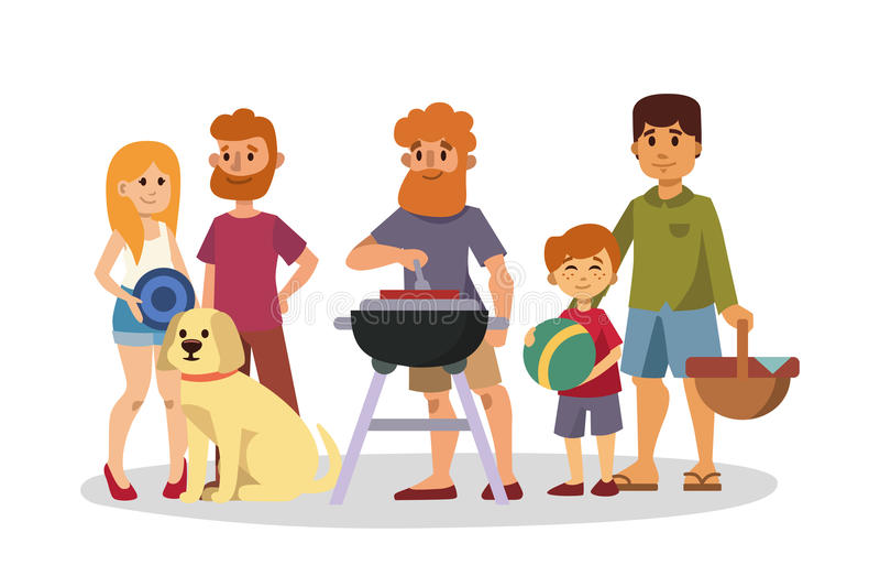 Pykniczny położenie z świeżej żywności koszałki koszykowego grilla pary i lato posiłku przyjęcia odpoczynkowymi rodzinnymi ludźmi ilustracja wektor