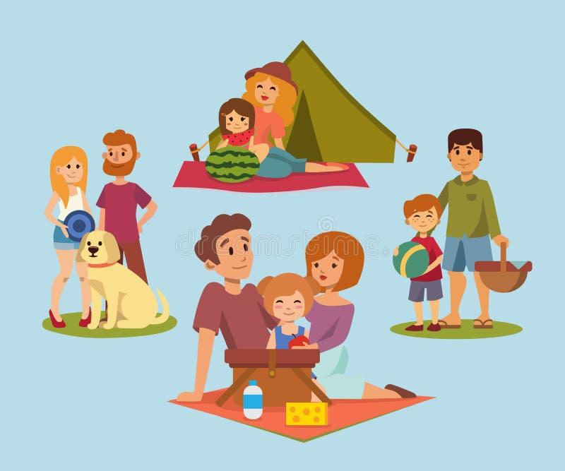 Pykniczny położenie z świeżej żywności koszałki koszykowego grilla pary i lato posiłku przyjęcia odpoczynkowymi rodzinnymi ludźmi royalty ilustracja