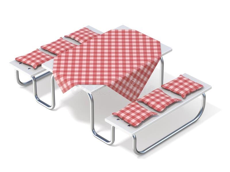 Pykniczny stół z czerwoną stołową pokrywą i poduszkami 3d ilustracji