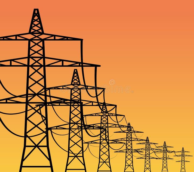Pylônes de l'électricité illustration stock