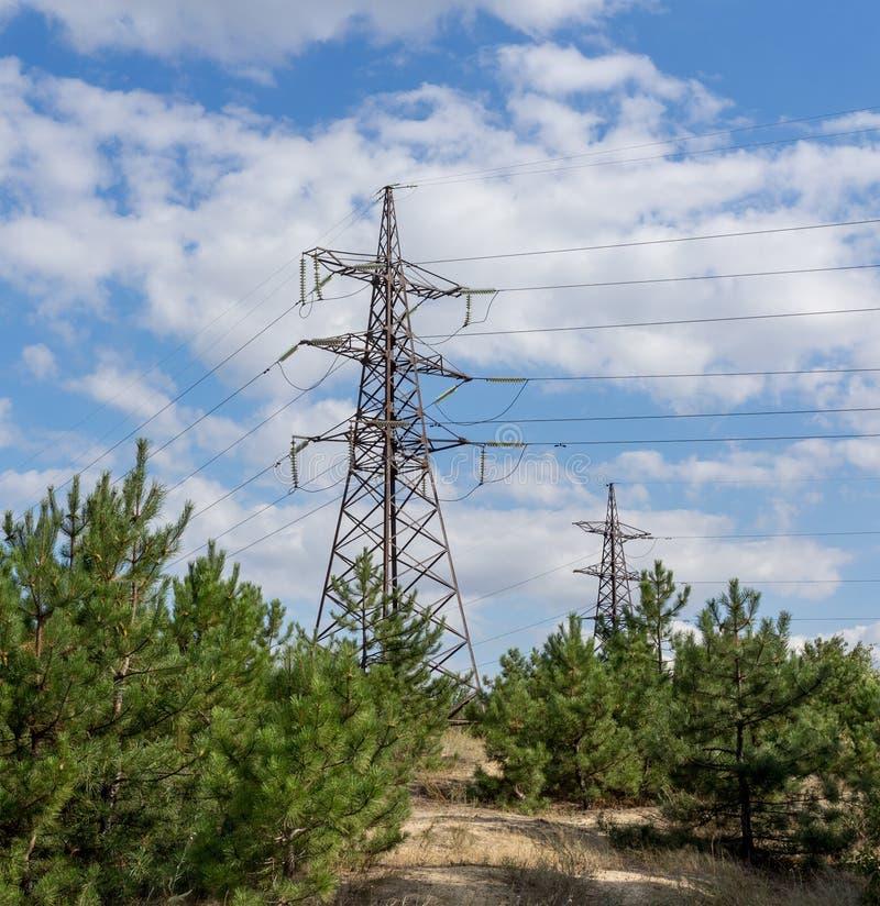 Download Pylône Et Lignes électriques De Transmission De L'électricité Dans Une Forêt Photo stock - Image du vert, pylône: 77155728