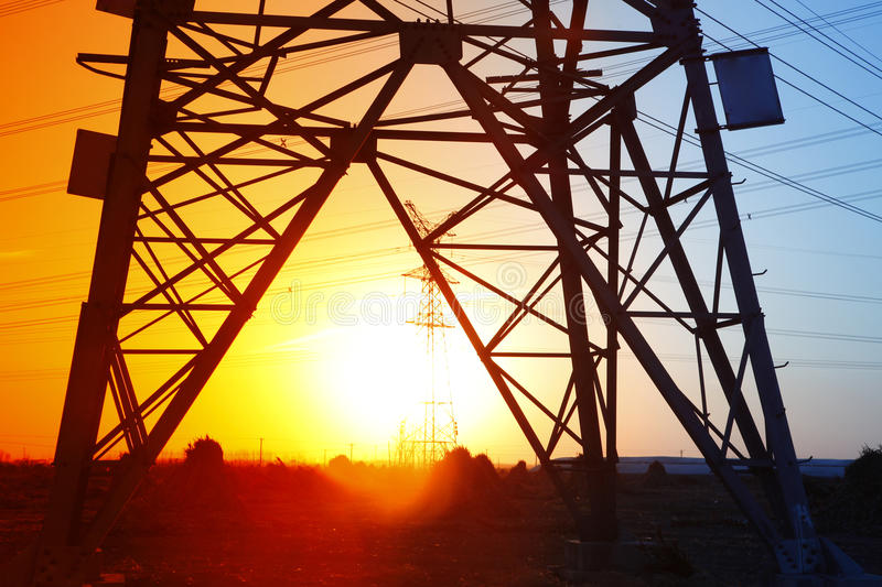 Pylon. The evening of the pylon outline, is very beautiful royalty free stock image