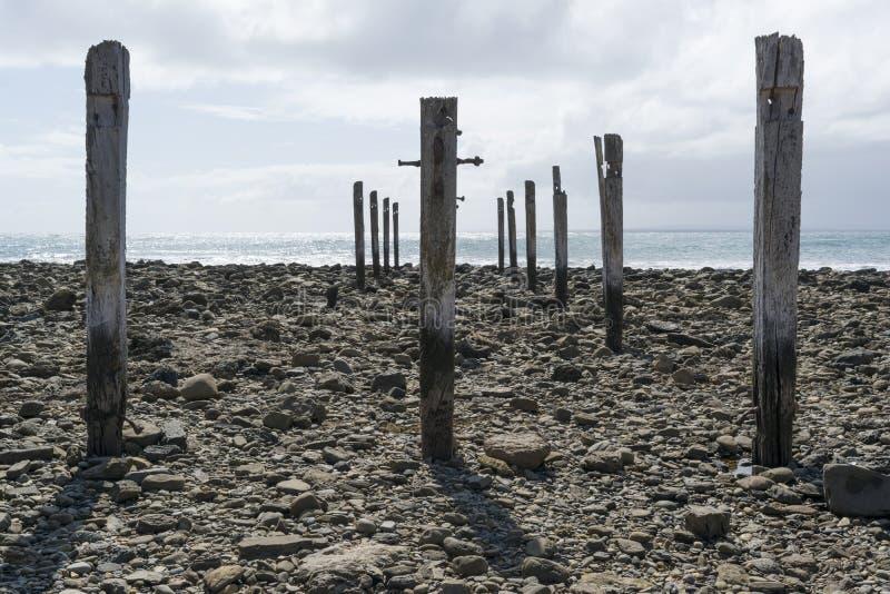 Pylon Pillar Posts, Jetty Ruins, Myponga Beach, South Australia stock photo