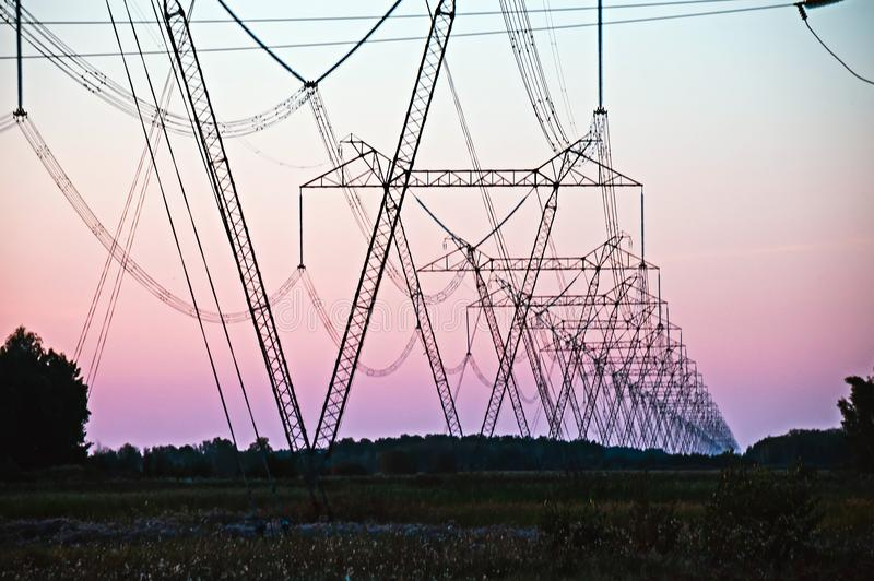 Download Pylon And Transmission Power Line Stock Image - Image of factory, insulators: 99476983