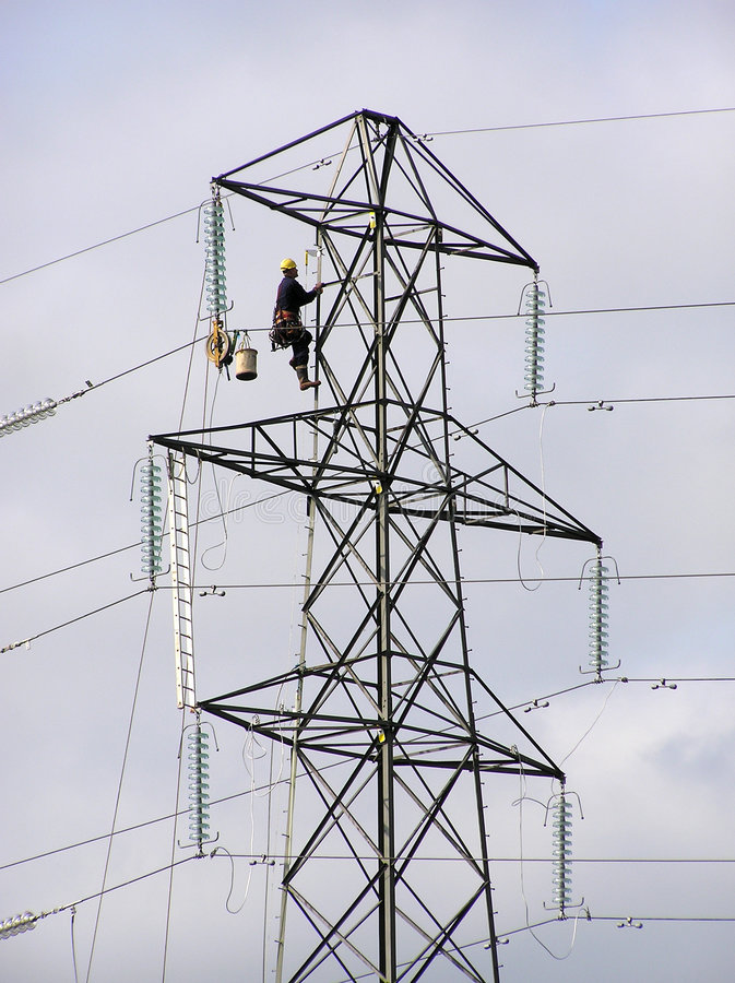 Pylon worker stock image