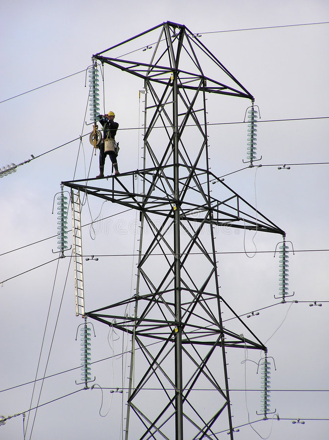 Pylon worker 2 stock photography