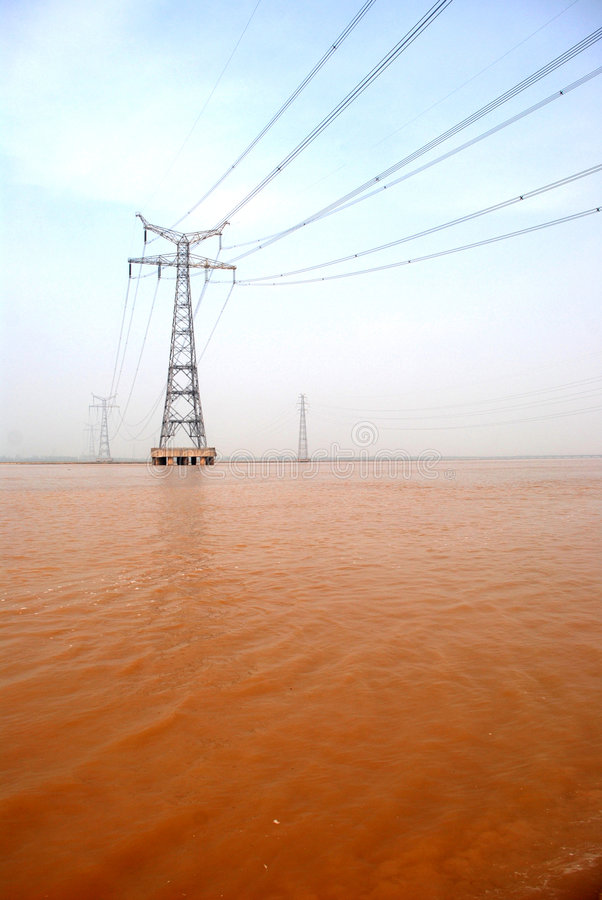 Download The Pylon In The Yellow River Stock Image - Image: 4921549