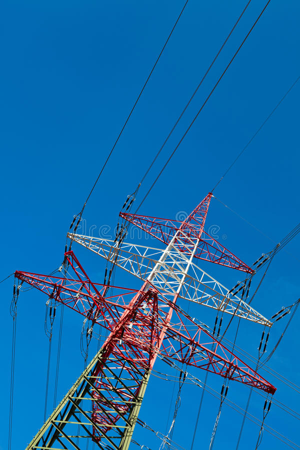 Pylons of a power line stock photography