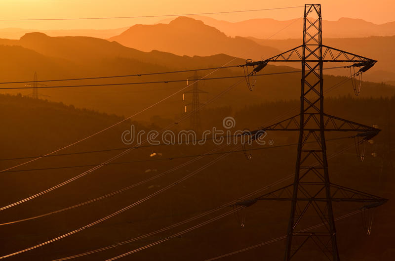 Pylons for power royalty free stock photos