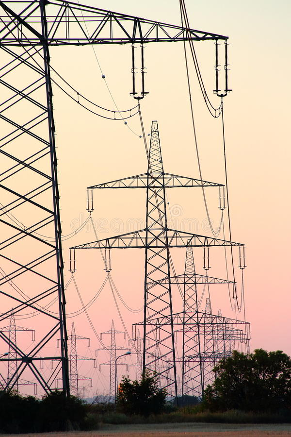 Download Pylons after Sunset stock photo. Image of sunset, sundown - 32849898