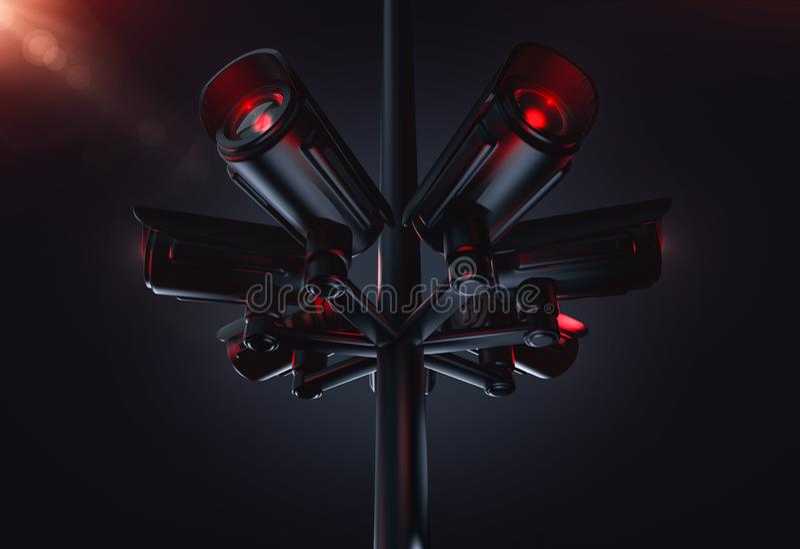 Pyloon met verscheidene kabeltelevisie-camera's Het leven voortaan met het sociale concept van het kredietsysteem het 3d teruggev royalty-vrije illustratie