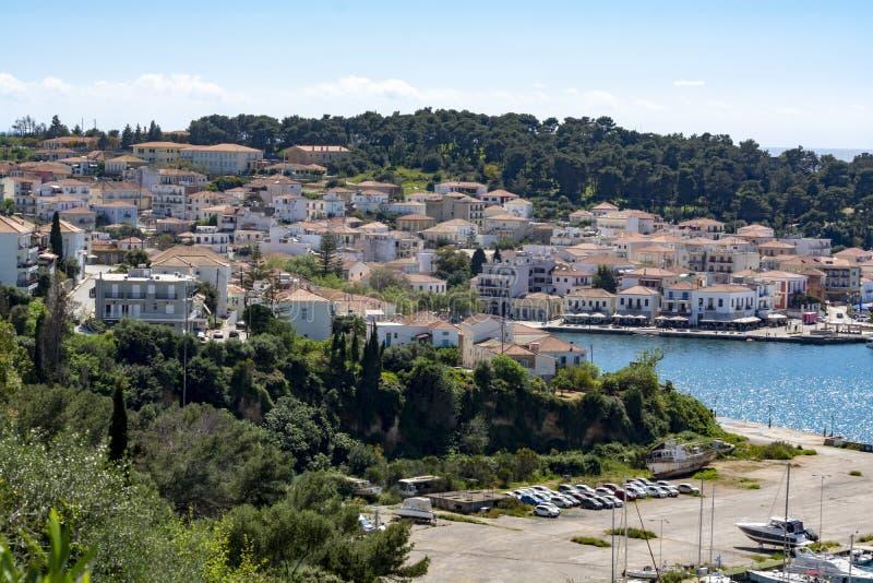 Pylos, with historically name Navarino, seaport town in Messenia, Peloponnese, Greece, main harbour on Bay of Navarino, holiday stock photos