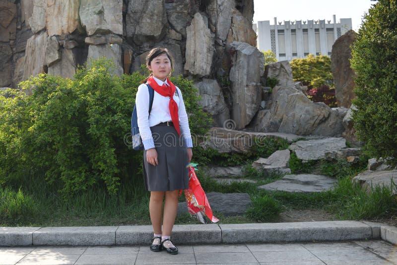 Pyongyang, Βόρεια Κορέα Κορίτσι πρωτοπόρων στοκ φωτογραφίες