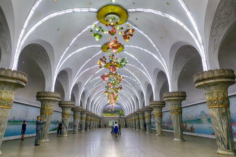 PYONGYANG, Ο ΒΟΡΡΑΣ 10.2017 ΚΟΡΈΑ-ΟΚΤΩΒΡΙΟΥ: Ο υπόγειος STAT Yonggwang στοκ φωτογραφία