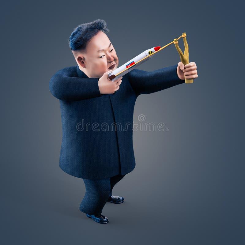 Pyongyang, KWIECIEŃ 11, 2017: Północny Korea zagraża używać jądrowe bronie Charakteru portret Kim Jong UN ilustracja wektor