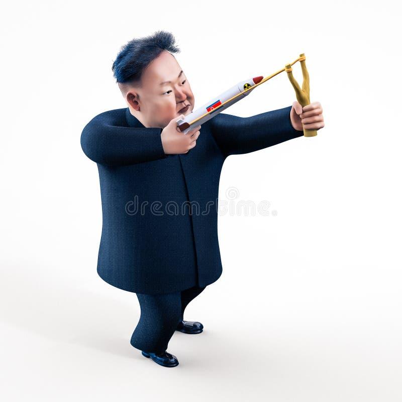 Pyongyang, KWIECIEŃ 11, 2017: Północny Korea zagraża używać jądrowe bronie Charakteru portret Kim Jong UN