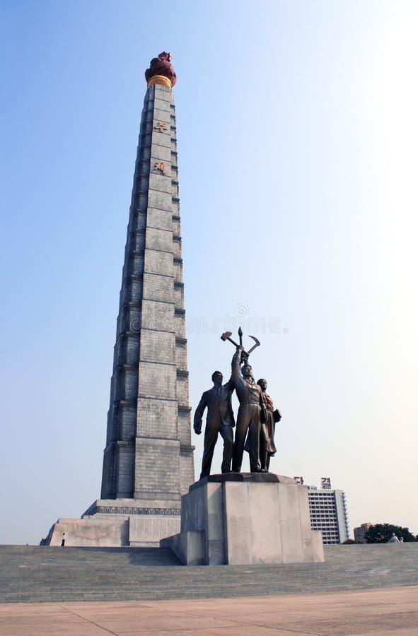 PYONGYANG, NOORD-KOREA, 24 SEPTEMBER, 2017: Toren van het Juche-Idee stock fotografie
