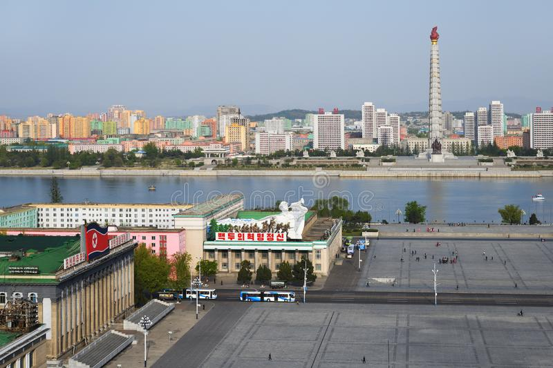 Pyongyang, North Korea. April 29, 2019: View on the monument to the Juche idea - Juche Tower, Taedong River and the central square of Kim Il Sung royalty free stock photography