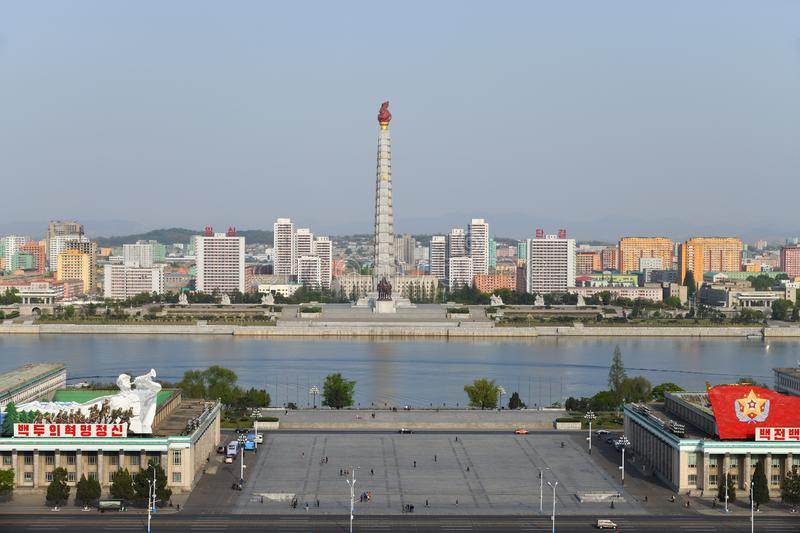 Pyongyang, North Korea. April 29, 2019: View on the monument to the Juche idea - Juche Tower, Taedong River and the central square of Kim Il Sung royalty free stock images