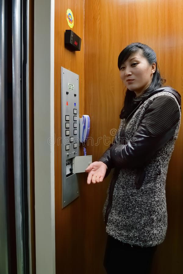Pyongyang, North Korea. Girl operator royalty free stock image