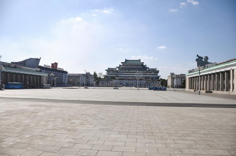 Pyongyang, North-Korea, 09/07/2018: Kim Il Sung Palace on Kim Il Sung square is incredibly huge and usually hosts the annual milit. Pyongyang, North-Korea, 09/07 stock photos