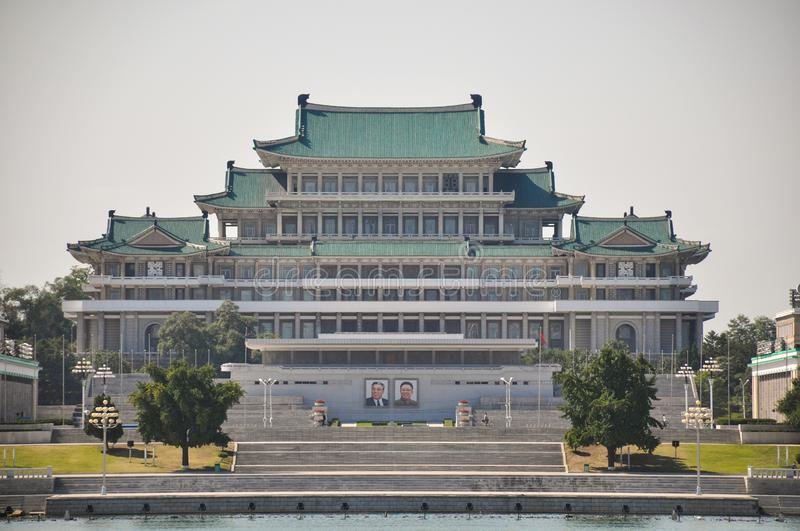 Kim Il Sung Palace on Kim Il Sung square. Pyongyang, North-Korea, 09/07/2018: The Kim Il Sung palace is the place where the big military parades and speeches are royalty free stock photos