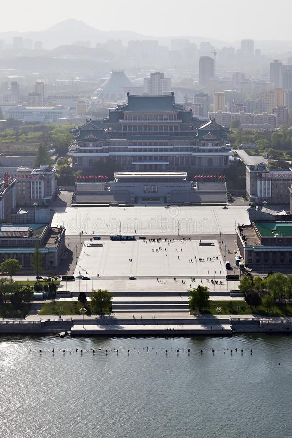 Pyongyang, North Korea. Kim Il Sung square from above. Pyongyang, North Korea - May 1, 2019: View from above on the central square of Kim Il Sung,Great People`s stock photography