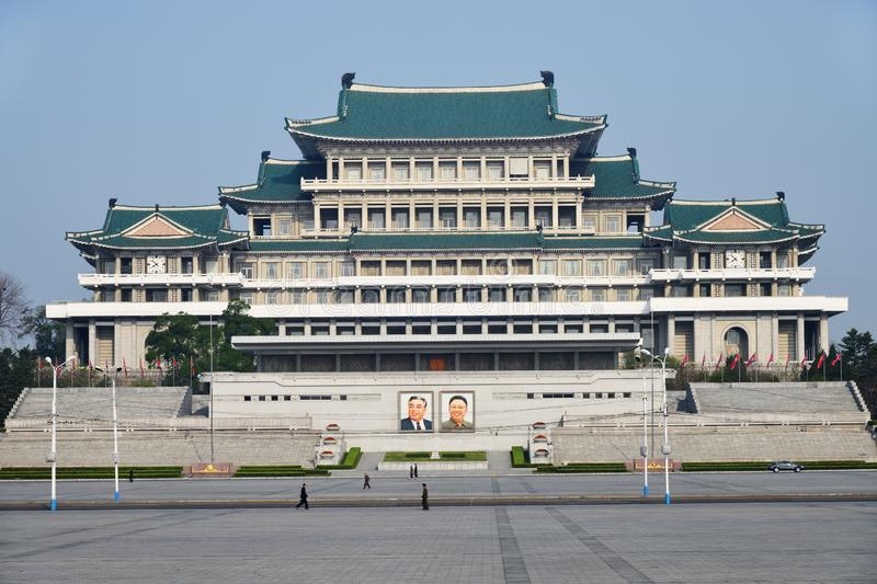 Pyongyang, North-Korea. Kim Il Sung square. Pyongyang, North-Korea - May 1, 2019: The central square of Kim Il Sung. Great People`s Study House with of portraits stock photo