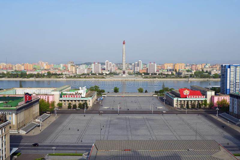 Pyongyang, North-Korea. Kim Il Sung square. Pyongyang, North-Korea - May 1, 2019: The central square of Kim Il Sung. Great People`s Study House with of portraits royalty free stock photos