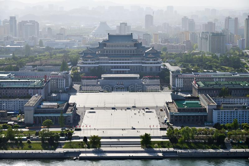 Pyongyang, North-Korea. Kim Il Sung square from above. Pyongyang, North Korea - May 1, 2019: View from above on the central square of Kim Il Sung at sunset time royalty free stock image